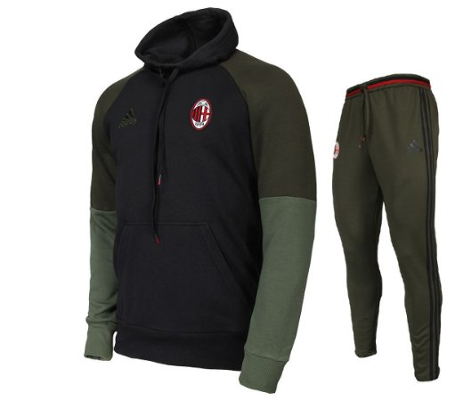 Kit moletom oficial Adidas Milan 2016 2017 Verde e preto