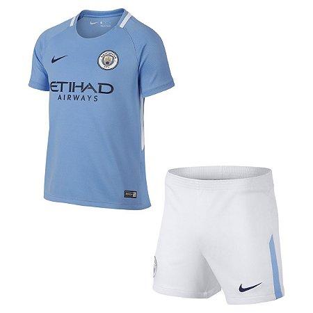 Kit oficial infantil Nike Manchester City 2017 2018 I jogador