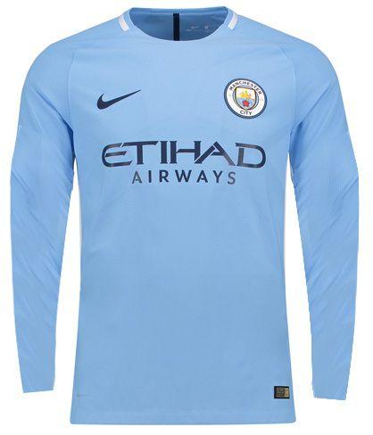 Camisa oficial Nike Manchester City 2017 2018 I jogador Manga comprida
