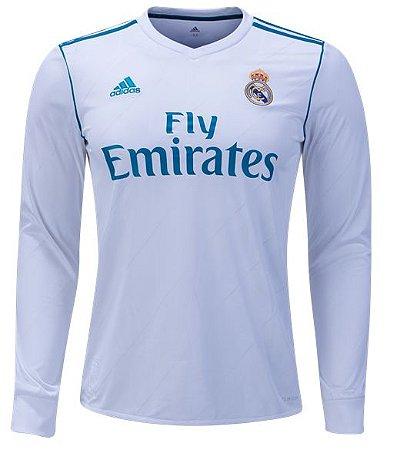 Camisa oficial Adidas Real Madrid 2017 2018 I jogador manga comprida