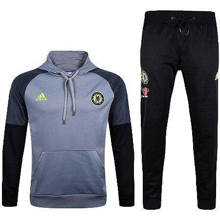Kit moletom oficial Adidas Chelsea 2017 2018 Cinza
