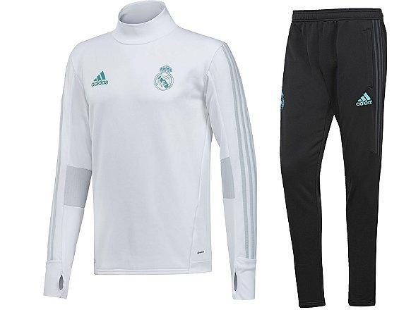Kit treinamento oficial Adidas Real Madrid 2017 2018 Branco e preto