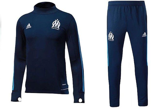 Kit treinamento oficial Adidas Olympique de Marseille 2017 2018 Azul Marinho