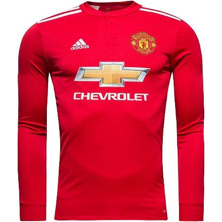 Camisa oficial Adidas Manchester United 2017 2018 I jogador manga comprida