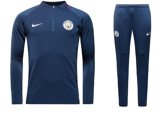 Kit pre jogo oficial Nike Manchester City 2017 2018 Azul