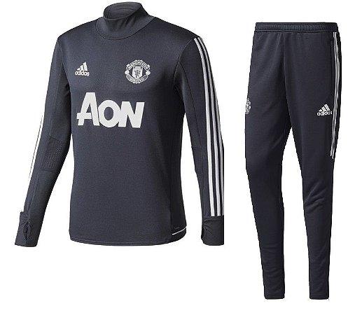 Kit treinamento oficial Adidas Manchester United 2017 2018 preto