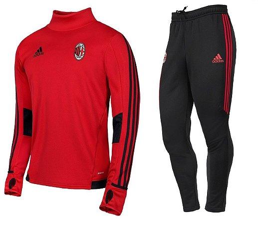Kit treinamento oficial Adidas Milan 2017 2018 vermelho e preto