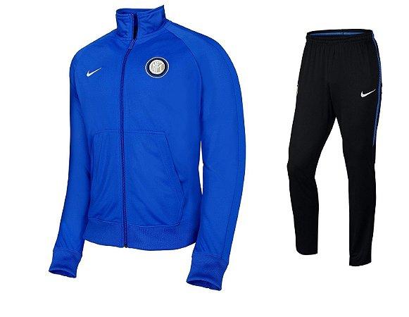 Kit treinamento oficial Nike Inter de Milão 2017 2018 Azul e preto