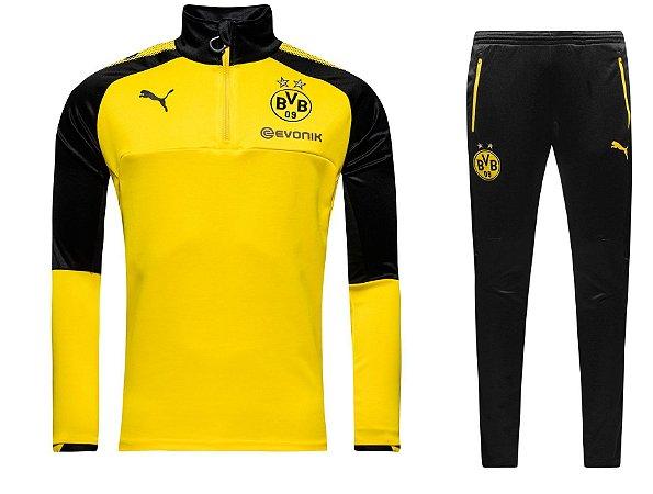 kit treinamento oficial Puma Borussia Dortmund 2017 2018 Amarelo e preto