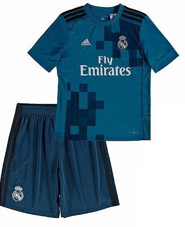 Kit infantil oficial Adidas Real Madrid  2017 2018 III jogador