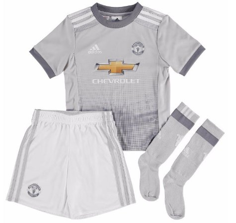 Kit infantil oficial adidas Manchester United 2017 2018 III jogador