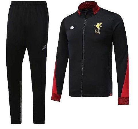 Kit treinamento oficial New Balance Liverpool 2017 2018 Preto e vermelho