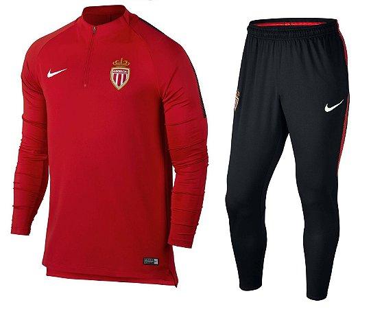 Kit treinamento oficial Nike Monaco 2017 2018 vermelho e preto