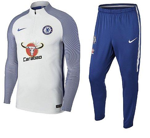Kit treinamento oficial Nike Chelsea 2017 2018 branco e azul
