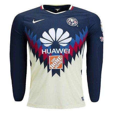 Camisa oficial Nike America do Mexico 2017 2018 I jogador manga comprida