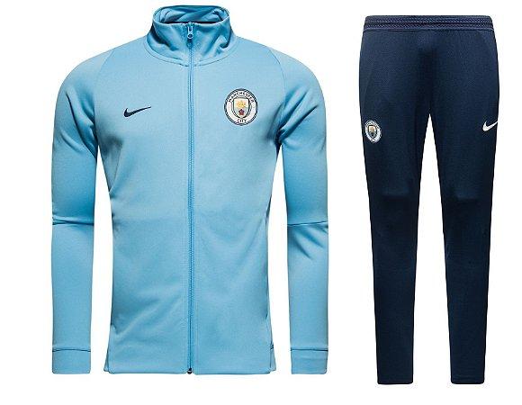Kit treinamento oficial Nike Manchester City 2017 2018 Azul e preto