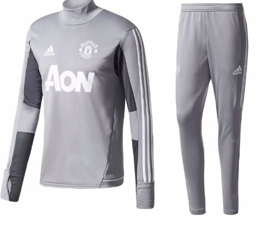 Kit treinamento oficial Adidas Manchester United 2017 2018 cinza