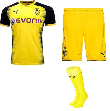 Kit adulto oficial Puma Borussia Dortmund 2017 2018 Edição champions League