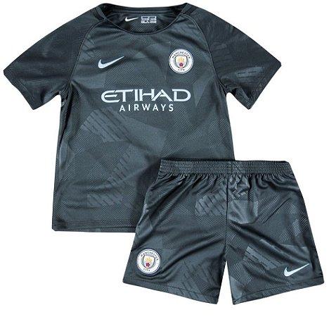 Kit infantil oficial Nike Manchester City 2017 2018 III jogador