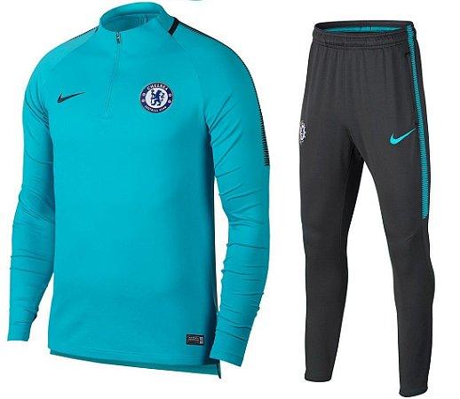 Kit treinamento oficial Nike Chelsea 2017 2018 Azul e preto