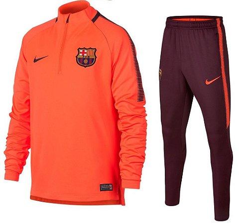 Kit treinamento oficial Nike Barcelona 2017 2018 Laranja e vermelho