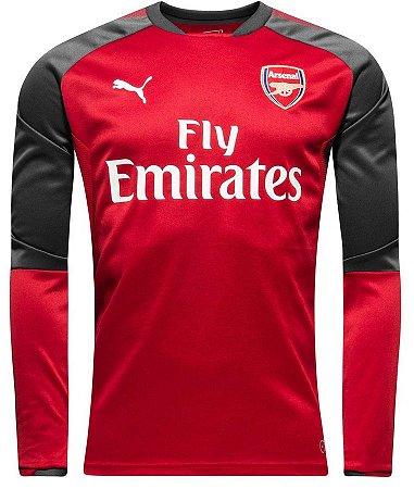 Blusão de treino oficial Puma Arsenal 2017 2018 vermelho e preto