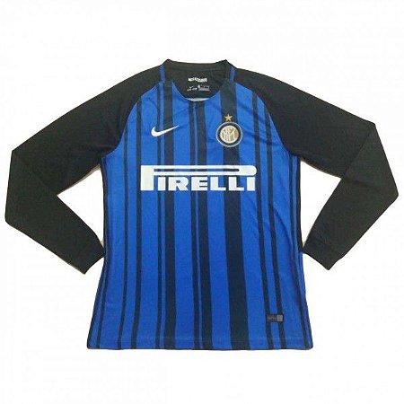 Camisa oficial Nike Inter de Milão 2017 2018 I jogador manga comprida