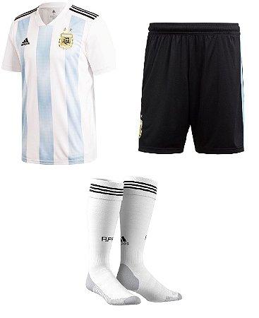 Kit adulto oficial Adidas seleção da Argentina 2018 I jogador