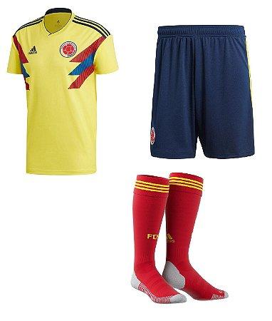 Kit adulto oficial Adidas seleção da Colombia 2018 I jogador