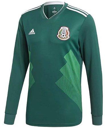 Camisa oficial Adidas seleção do México 2018 I jogador manga comprida