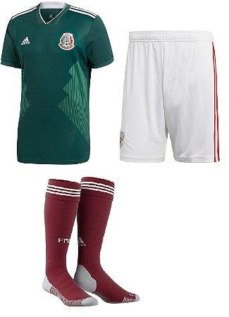 Kit adulto oficial Adidas seleção do México 2018 I jogador