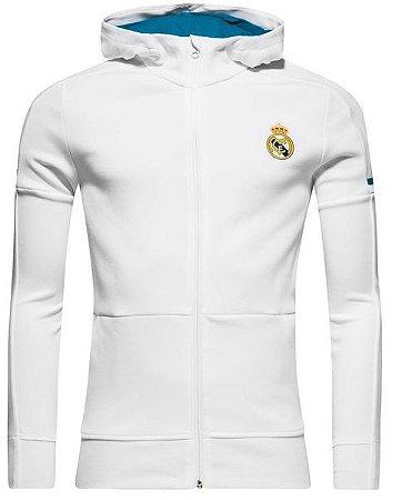 Jaqueta com capuz oficial Adidas Real Madrid 2017 2018 Branca