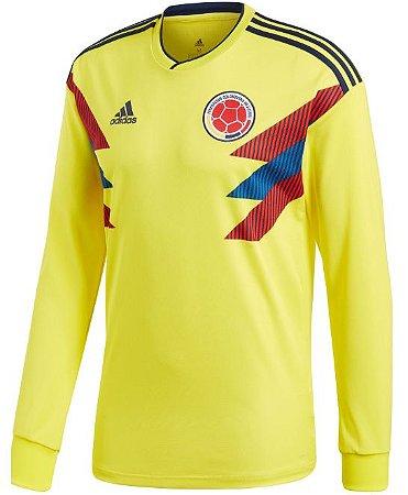 Camisa oficial Adidas seleção da Colombia 2018 I jogador manga comprida