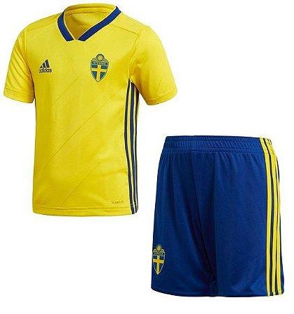 Kit infantil oficial Adidas seleção da Suecia 2018 I jogador