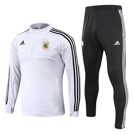 Kit treinamento oficial Adidas seleção da Argentina 2018 Branco e preto