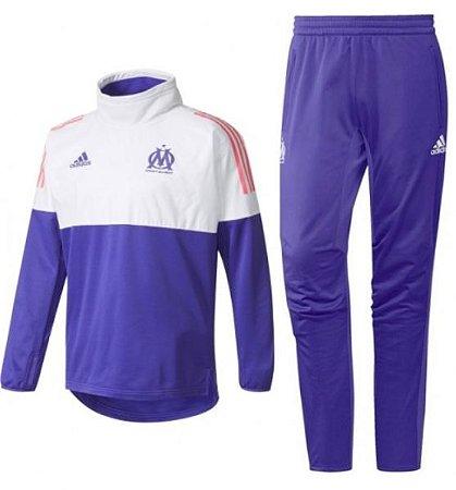 Kit treinamento oficial Adidas Olympique de Marseille 2017 2018 Roxo e Branco