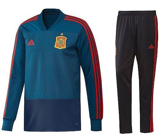 Kit treinamento oficial Adidas seleção da Espanha 2018 Azul e preto