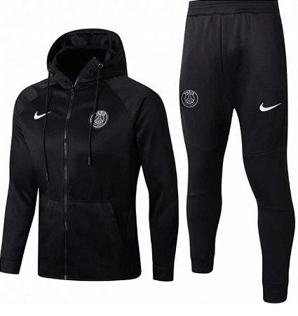 Kit treinamento com capuz oficial Nike PSG 2017 2018 preto
