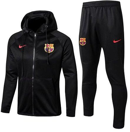Kit treinamento com capuz oficial Barcelona 2017 2018 preto