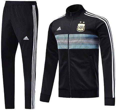 Kit treinamento oficial Adidas seleção da Argentina 2018 Preto