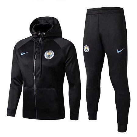 Kit treinamento com capuz oficial Nike Manchester City 2017 2018 Preto