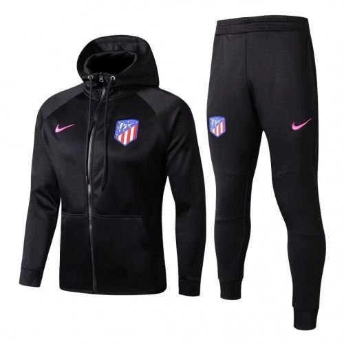 Kit treinamento com capuz oficial Nike Atletico de Madrid 2017 2018 preto
