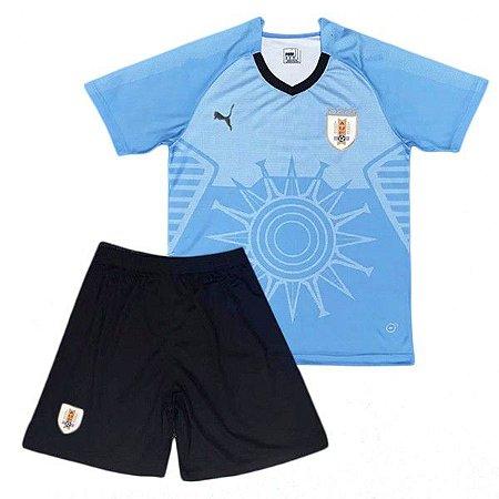 Kit infantil oficial Puma seleção do Uruguai 2018 I jogador