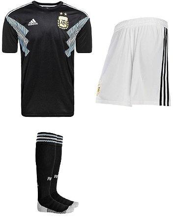 Kit adulto oficial Adidas seleção da Argentina 2018 II jogador