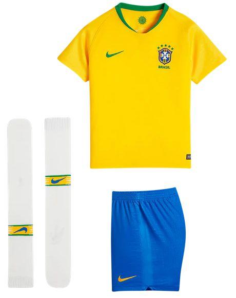 Kit infantil oficial Nike seleção do Brasil 2018 I jogador