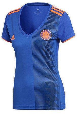 Camisa feminina oficial Adidas seleção da Colombia 2018 II