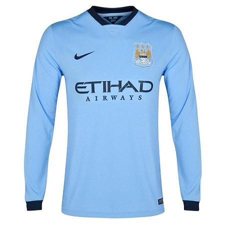 Camisa oficial Nike Manchester City 2014 2015 I jogador Manga comprida