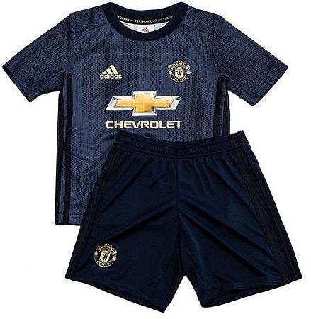 Kit infantil oficial Adidas Manchester United 2018 2019 III jogador