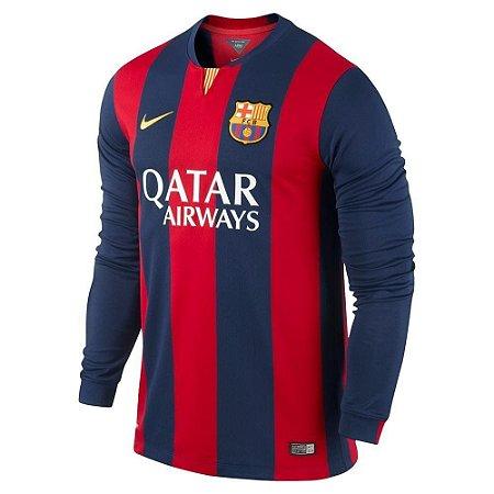 Camisa oficial Nike Barcelona 2014 2015 I Jogador manga comprida