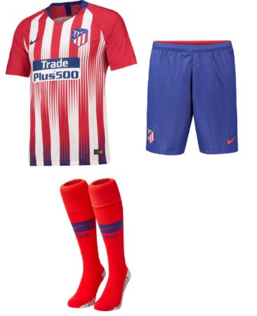 Kit adulto oficial Nike Atletico de Madrid 2018 2019 I jogador